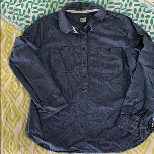 TOMS Button Up Dark Denim Shirt Size L/G